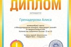 Диплом 1 степени для победителей konkurs.info №8443