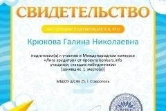 Свидетельство о подготовке победителей konkurs.info №125289791